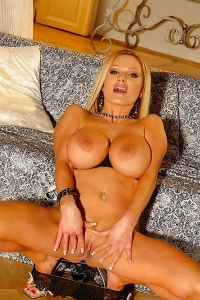 Blonde Sharon Pink Shows Her Big Boobs & Dildoes Her Pussy