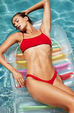 Meg Peeling Off Her Skimpy Red Bikini To Float Naked In The Pool