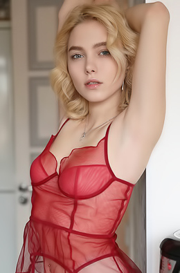 Scarlet In Hot Sexy Red Lingerie