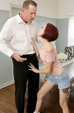 Skinny Lola Fae gets caught riding a big fat dick