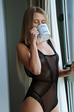 Lisa Dawn In Sexy Sheer Black Bodysuit