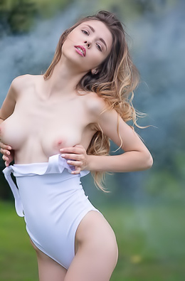 Mila Azul creates a sexy, smoky, naked scene